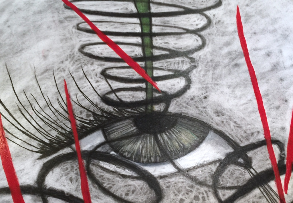 Charcoal on paper eye drawing by Ruth Chase