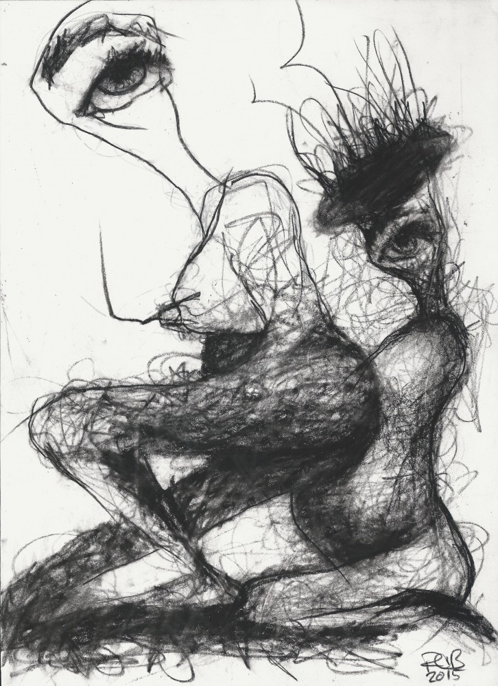 Art about mother and daughter, art with a concept, charcoal line drawing