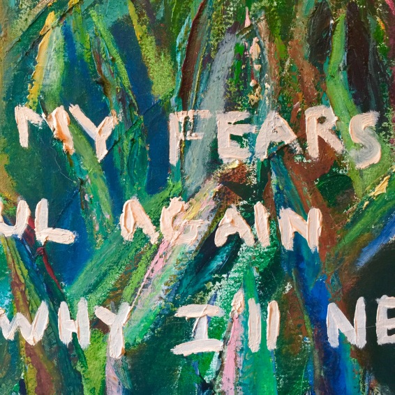 Grass Is Greener Detail Oil on Canvas Painting by Ruth Chase with words