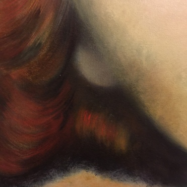 Detail of painting Renee, oil on canvas close up