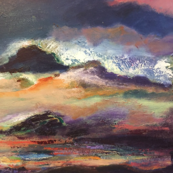 Detail of landscape painting in oil on canvas