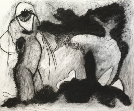 Playing With Shapes by Ruth Chase Charcoal on Paper 14x17inches 2015