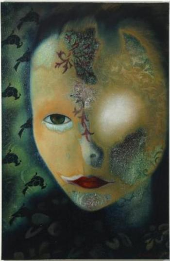 Oil on canvas portrait, art about spirituality