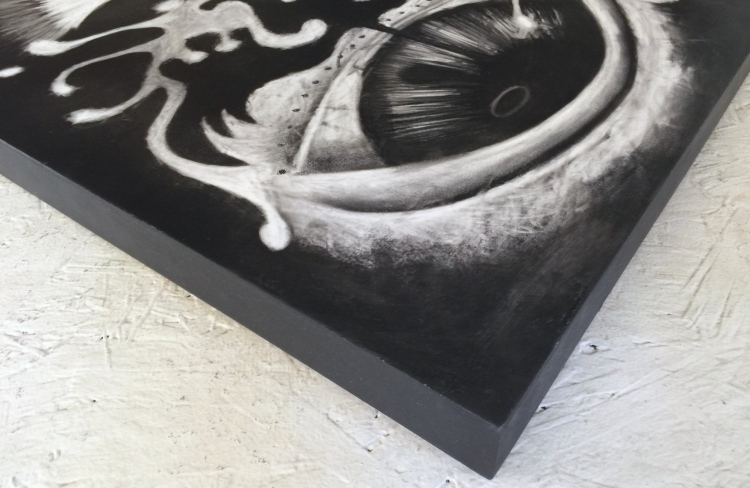 Transition Charcoal Drawing on Wood by Ruth Chase CloseUp