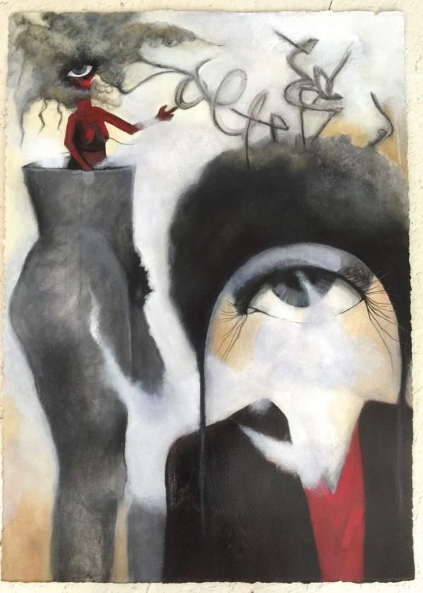 Acrylic on Paper, Surreal Painting, Art, Eye Art, Figurative Art, Emerging Artist, California Artist