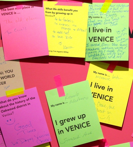 Venice Tribute Wall, an interactive wall with questions and stories submitted by Venice residents.