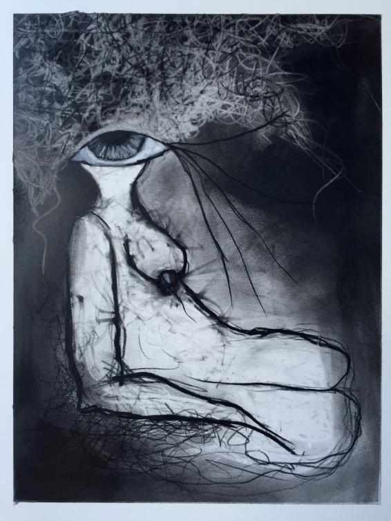 """""""Mother Waits"""", 2016, charcoal on paper"""