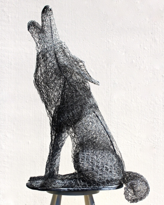 Al Martinez Howling Wolf Chicken wire, steel and plywood. 25 X 27 X 40 inches $700 530-802-6602
